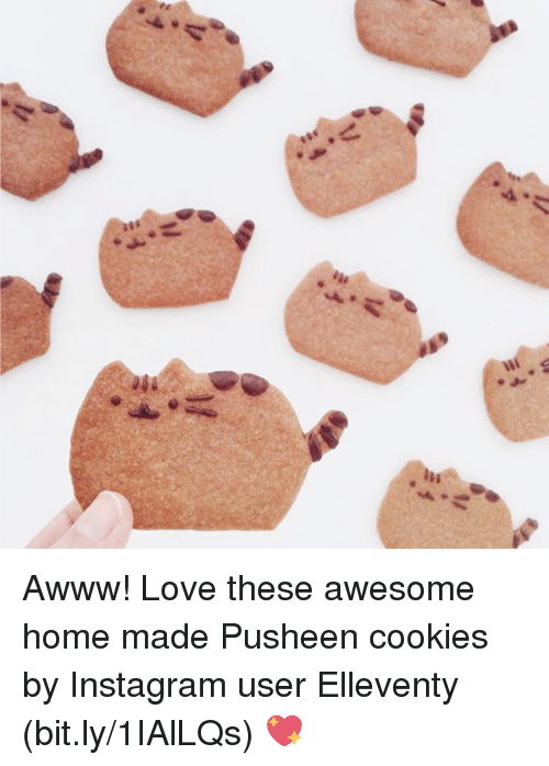 Pusheens: Awww! Love these awesome home made Pusheen cookies by Instagram user Elleventy (bit.ly/1IAlLQs) 💖