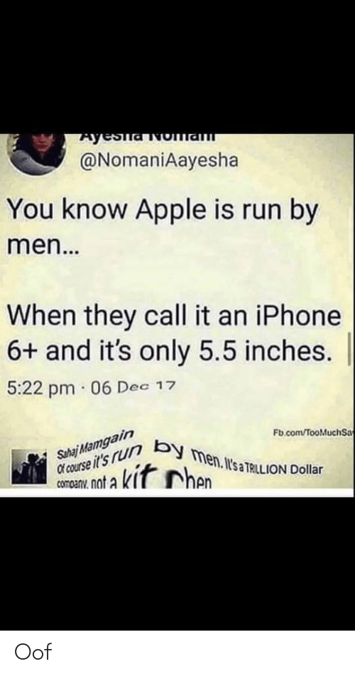 Iphone 6: Ayeslavoma  @NomaniAayesha  You know Apple is run by  men...  When they call it an iPhone  6+ and it's only 5.5 inches.  5:22 pm · 06 Dec 17  Sahaj Mamgain  d'course it's rur By men. Il's a TRILLION Dollar  Fb.com/TooMuchSa  Shen  cornanu, not a kit Chen  company. Oof