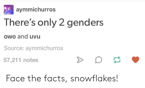 Only 2 Genders: aymmichurros  There's only 2 genders  owo and uvu  Source: aymmichurros  57,211 notes Face the facts, snowflakes!