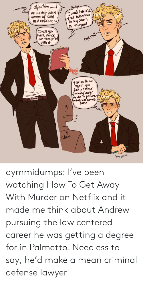 defense: aymmidumps: I've been watching How To Get Away With Murder on Netflix and it made me  think about Andrew pursuing the law centered career he was getting a  degree for in Palmetto. Needless to say, he'd make a mean criminal  defense lawyer