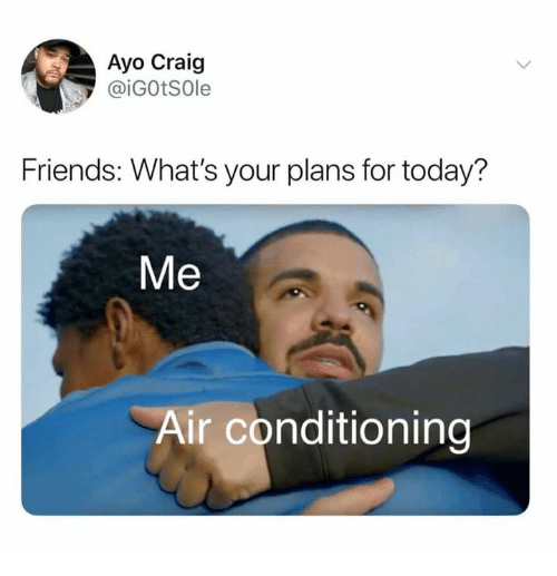 Dank, Friends, and Craig: Ayo Craig  @iGOtSOle  Friends: What's your plans for today?  Me  Air conditioning