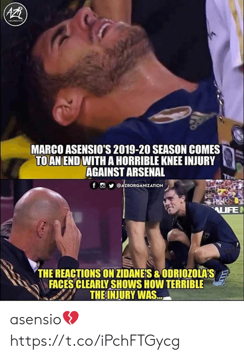 knee injury: AZB  ceczATIOn  MARCO ASENSIO'S 2019-20 SEASON COMES  TO AN END WITHA HORRIBLE KNEE INJURY  AGAINST ARSENAL  f AZRORGANIZATION  AIFE  THE REACTIONS ON ZIDANES &ODRIOZOLA'S  FACES CLEARLY SHOWS HOW TERRIBLE  THE INJURY WAS... asensio💔 https://t.co/iPchFTGycg