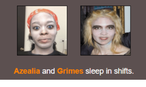 Sleep, Grimes, and And: Azeali  a and Grimes sleep in shifts.