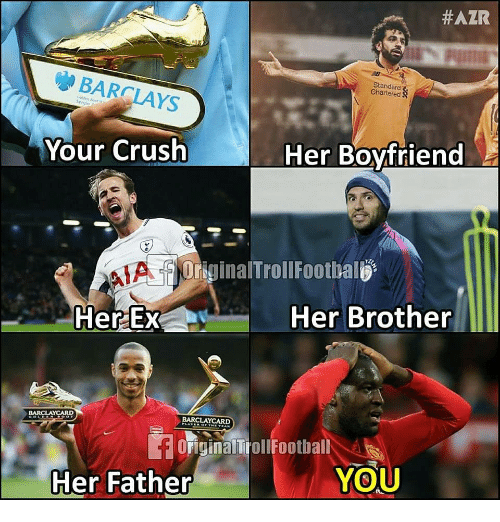 Crush, Memes, and Barclays:  #AZR  Standard  Chartered  BARCLAYS  Your Crush  Her Boyfriend  iginalTrollFoothal  Her Brother  BARCLAYCARD  OFiginalTbollFootball  YOU  Her Father