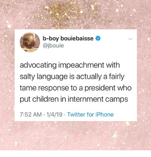 impeachment: b-boy bouiebaisse  @jbouie  advocating impeachment witlh  salty language is actually a fairly  tame response to a president who  put children in internment camps  7:52 AM 1/4/19 Twitter for iPhone