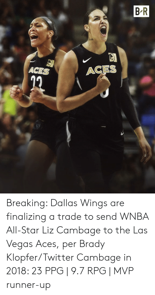Las Vegas: B R  ACES  ACES Breaking: Dallas Wings are finalizing a trade to send WNBA All-Star Liz Cambage to the Las Vegas Aces, per Brady Klopfer/Twitter  Cambage in 2018: 23 PPG | 9.7 RPG | MVP runner-up