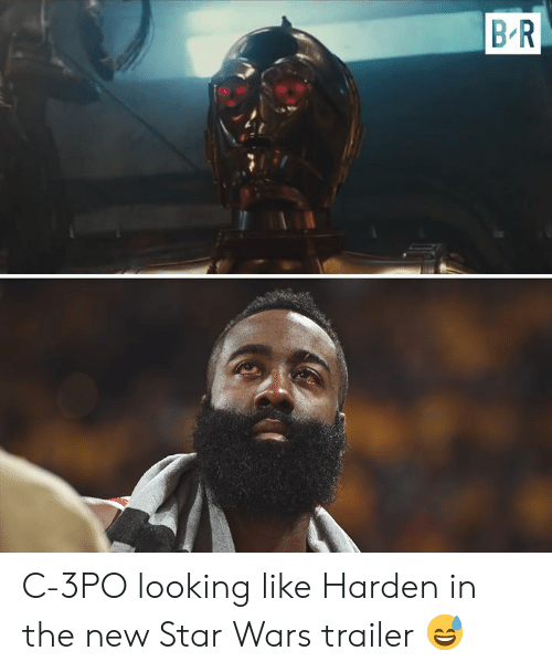 trailer: B R C-3PO looking like Harden in the new Star Wars trailer 😅