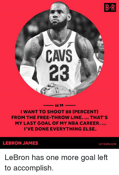 Cavs, Espn, and LeBron James: B R  CAVS  23  I WANT TO SHOOT 80 (PERCENT)  FROM THE FREE-THROW LINE. THAT'S  MY LAST GOAL OF MY NBA CAREER....  I'VE DONE EVERYTHING ELSE.  LEBRON JAMES  H/T ESPN.COM LeBron has one more goal left to accomplish.