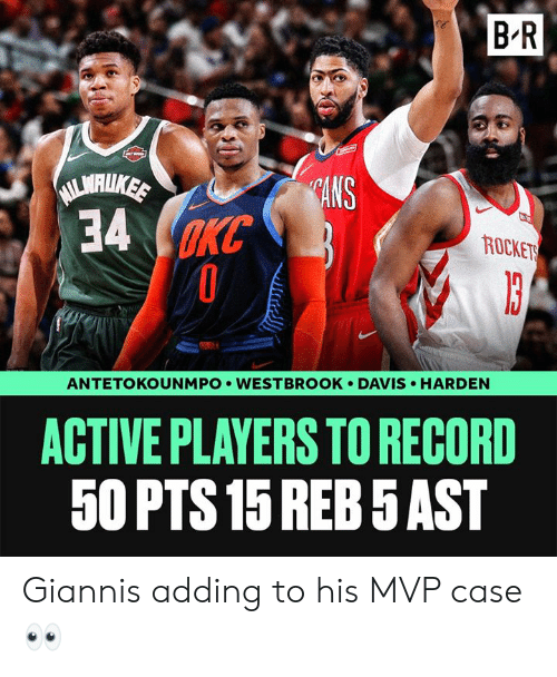Record, Davis, and Case: B R  lS  rn  34 m  ROCKET  HARDEN  ANTETOKOUNMPO . WESTBROOK . DAVIS  ACTIVE PLAYERS TO RECORD  50 PTS15 REB 5AST Giannis adding to his MVP case 👀