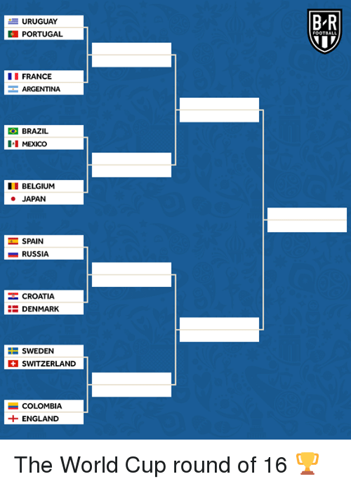 Belgium, England, and World Cup: B R  URUGUAY  PORTUGAL  FRANCE  ARGENTINA  BRAZIL  II MEXICO  BELGIUM  JAPAN  工SPAIN  ■ RUSSIA  CROATIA  DENMARK  SWEDEN  SWITZERLAND  İ COLOMBIA  +ENGLAND The World Cup round of 16 🏆