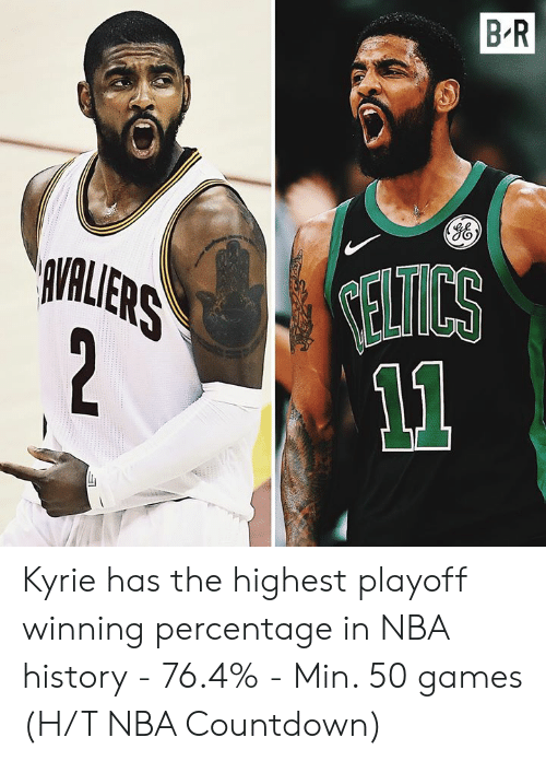 Countdown: B R  VALLERS  2  ELTICS Kyrie has the highest playoff winning percentage in NBA history  - 76.4% - Min. 50 games  (H/T NBA Countdown)