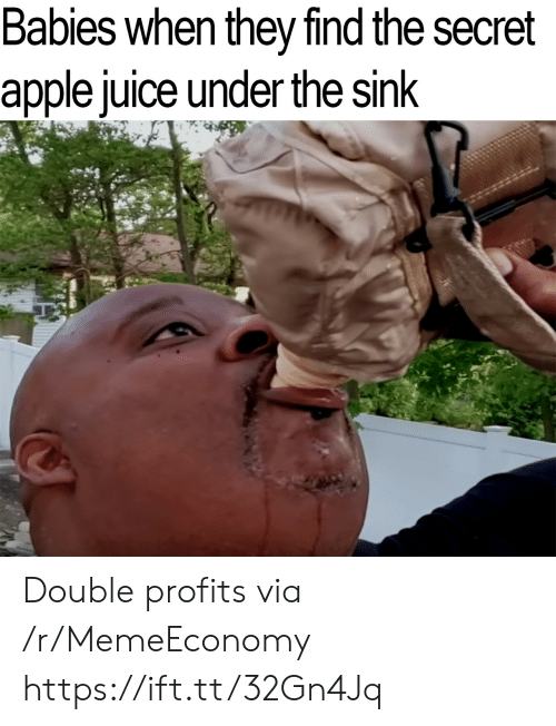 Apple, Juice, and Secret: Babies when they find the secret  apple juice under the sink Double profits via /r/MemeEconomy https://ift.tt/32Gn4Jq