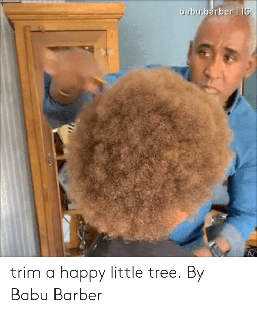 Barber, Dank, and Happy: babu.barber II trim a happy little tree.  By Babu Barber