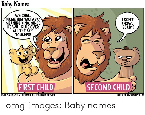 "Baby Names: Baby Names  WE SHALL  NAME HIM ""MUFASA""  MEANING KING, SINCE  HE WILL RULE OVER  ALL THE SKY  TOUCHES!  I DONT  KNOW  ""SCAR""?  FIRST CHILD  SECOND CHILD  2017 ALEXANDER HOFFMAN. ALL RIGHTS RESERVED  TALES OF ABSURDITY COM omg-images:  Baby names"