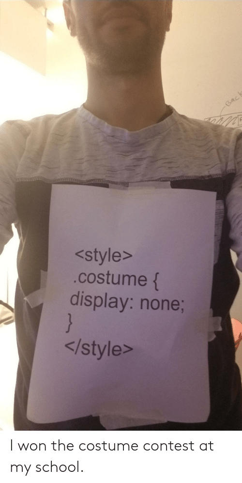 I Won: Back  <style>  .costume {  display: none;  }  </style> I won the costume contest at my school.