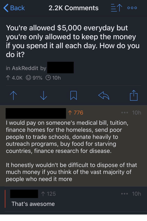 Finance, Food, and Homeless: Back  2.2K Comments  000  You're allowed $5,000 everyday but  you're only allowed to keep the money  if you spend it all each day. How do you  do it?  in AskReddit by  4.0K (991% O 10h  776  .10h  Iwould pay on someone's medical bill, tuition,  finance homes for the homeless, send poor  people to trade schools, donate heavily to  outreach programs, buy food for starving  countries, finance research for disease  It honestly wouldn't be difficult to dispose of that  much money if you think of the vast majority of  people who need it more  125  10h  That's awesome