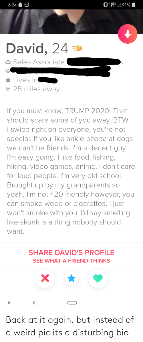 Back at It Again: Back at it again, but instead of a weird pic its a disturbing bio