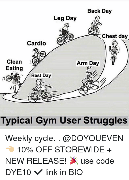 Legs Day: Back Day  Leg Day  Chest day  Cardio  Clean  Eating  Arm Day  Rest Day  Typical Gym User Struggles Weekly cycle. . @DOYOUEVEN 👈🏼 10% OFF STOREWIDE + NEW RELEASE! 🎉 use code DYE10 ✔️ link in BIO