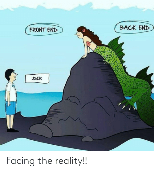 Front: BACK END  FRONT END  USER Facing the reality!!