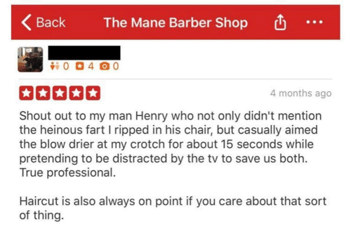 Barber, Haircut, and True: Back  KBack The Mane Barber Shop  The Mane Barber Shop  4 months ago  Shout out to my man Henry who not only didn't mention  the heinous fart l ripped in his chair, but casually aimed  the blow drier at my crotch for about 15 seconds while  pretending to be distracted by the tv to save us both.  True professional  Haircut is also always on point if you care about that sort  of thing.