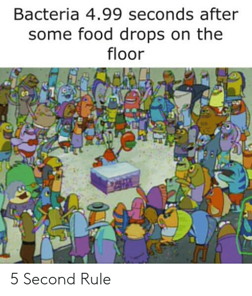 Food, SpongeBob, and Bacteria: Bacteria 4.99 seconds after  some food drops on the  floor 5 Second Rule