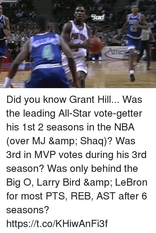 big o: Bad Did you know Grant Hill...  Was the leading All-Star vote-getter his 1st 2 seasons in the NBA (over MJ & Shaq)?  Was 3rd in MVP votes during his 3rd season?  Was only behind the Big O, Larry Bird & LeBron for most PTS, REB, AST after 6 seasons? https://t.co/KHiwAnFi3f