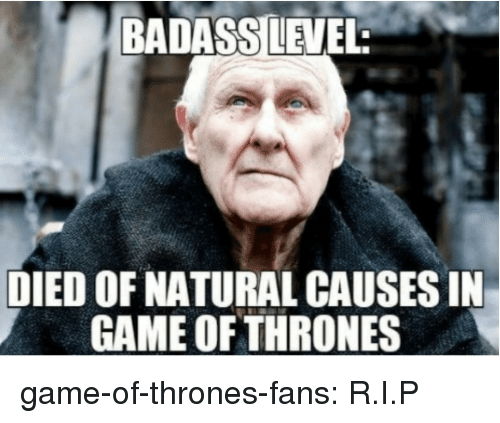 Game of Thrones, Tumblr, and Blog: BADASSILEVEL  DIED OF NATURAL CAUSES IN  GAME OF THRONES game-of-thrones-fans:  R.I.P