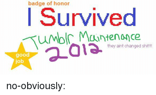 Bilbo: badge of honor  I Survived  they aint changed shit!  good  job no-obviously: