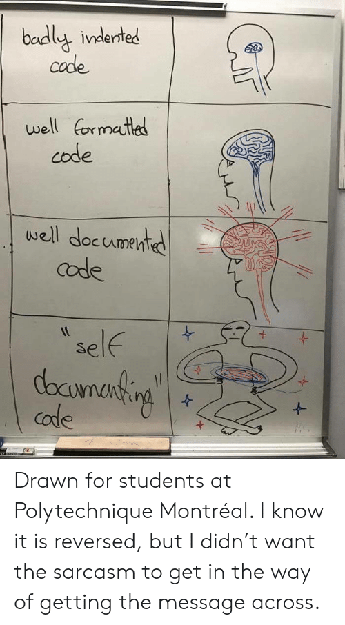 Sarcasm, Montreal, and Code: badly inderted  code  e  well formatled  code  well documented  code  self  docunanting  code Drawn for students at Polytechnique Montréal. I know it is reversed, but I didn't want the sarcasm to get in the way of getting the message across.