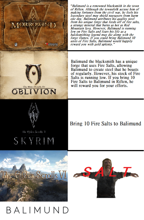 "oblivion: ""Balimund is a renowncd blacksmith in the town  of Riften. Although the townsfolk accuse him of  making fortunes from the civil war, he fccls his  Icgendary stccl may shicld naysaycrs from harm  one day. Balimund attributes his quality stecl  from his unique forge that fccds off of fire salts,  a strange mincral that burns as hot as Red  Mountain lava. However, Balimund is running  low on Fire Salts and fcars his lifc as a  balcksmithing Icgend may dic along with the  forge flames. If you could bring Balimund 10  units of Fire Salts, Balimund would happily  reward you with gold aplenty.""  The e  MORROWANI  Balimund the blacksmith has a unique  forge that uses Fire Salts, allowing  Balimund to create steel that he boasts  of regularly. However, his stock of Fire  Salts is running low. If you bring 10  Fire Salts to Balimund in Riften, he  will reward you for your efforts  The lder Scrolls TV  OBLIVION  Bring 10 Fire Salts to Balimund  SKYRIM  SALT  L1. B A L I M U N D"
