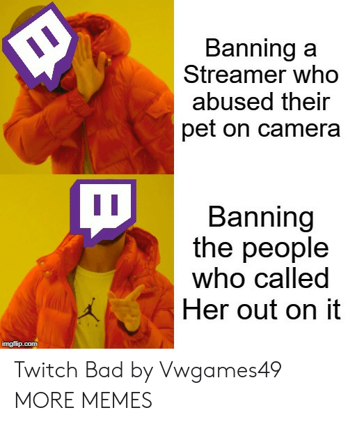 Banning: Banning a  Streamer who  abused their  pet on camera  Banning  the people  who called  Her out on it  imgflip.com Twitch Bad by Vwgames49 MORE MEMES