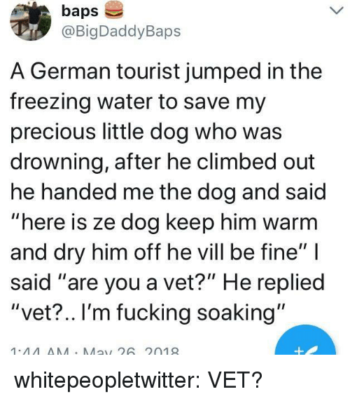 """baps: baps  @BigDaddyBaps  A German tourist jumped in the  freezing water to save my  precious little dog who was  drowning, after he climbed out  he handed me the dog and said  """"here is ze dog keep him warm  and dry him off he vill be fine""""  said """"are you a vet?"""" He replied  """"vet?.. I'm fucking soaking""""  1.44AA Ma26 2019 whitepeopletwitter: VET?"""