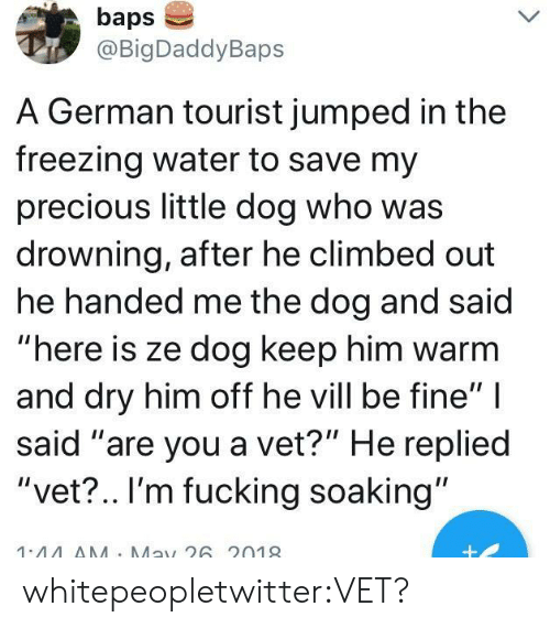 """baps: baps  @BigDaddyBaps  A German tourist jumped in the  freezing water to save my  precious little dog who was  drowning, after he climbed out  he handed me the dog and said  """"here is ze dog keep him warm  and dry him off he vill be fine""""  said """"are you a vet?"""" He replied  """"vet?.. I'm fucking soaking""""  1.44AA Ma26 2019 whitepeopletwitter:VET?"""