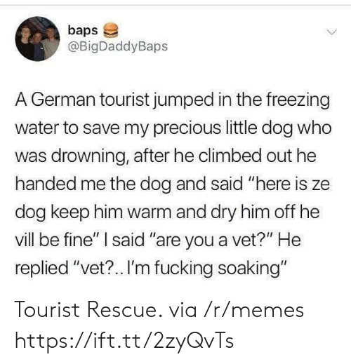 "Fucking, Memes, and Precious: baps  @BigDaddyBaps  A German tourist jumped in the freezing  water to save my precious little dog who  was drowning, after he climbed out he  handed me the dog and said ""here is ze  dog keep him warm and dry him off he  vill be fine"" said ""are you a vet?"" He  replied ""vet?.. I'm fucking soaking"" Tourist Rescue. via /r/memes https://ift.tt/2zyQvTs"