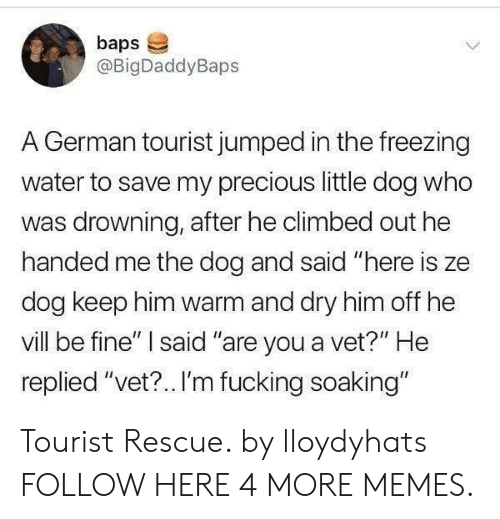 "Dank, Fucking, and Memes: baps  @BigDaddyBaps  A German tourist jumped in the freezing  water to save my precious little dog who  was drowning, after he climbed out he  handed me the dog and said ""here is ze  dog keep him warm and dry him off he  vill be fine"" said ""are you a vet?"" He  replied ""vet?.. I'm fucking soaking"" Tourist Rescue. by lloydyhats FOLLOW HERE 4 MORE MEMES."