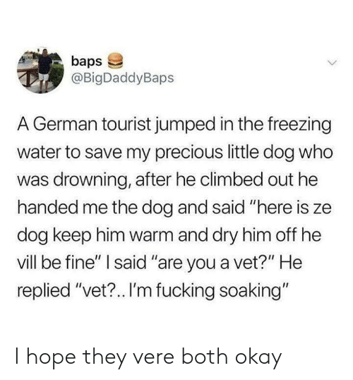 "Fucking, Precious, and Okay: baps  @BigDaddyBaps  A German tourist jumped in the freezing  water to save my precious little dog who  was drowning, after he climbed out he  handed me the dog and said ""here is ze  dog keep him warm and dry him off he  vill be fine"" I said ""are you a vet?"" He  replied ""vet?.. I'm fucking soaking"" I hope they vere both okay"