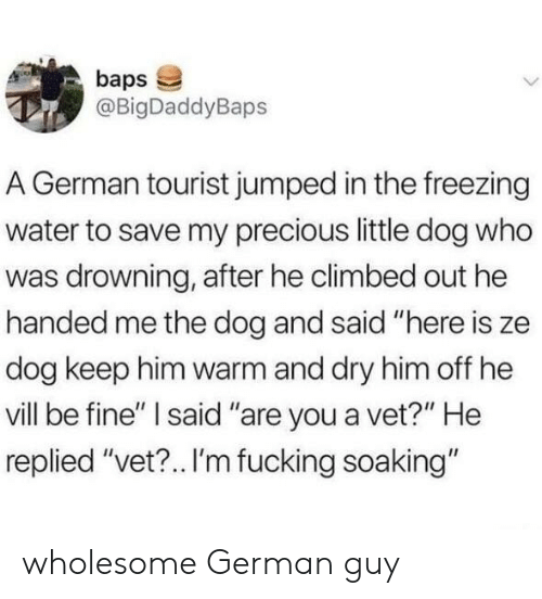 """Fucking, Precious, and Water: baps  @BigDaddyBaps  A German tourist jumped in the freezing  water to save my precious little dog who  was drowning, after he climbed out he  handed me the dog and said """"here is ze  dog keep him warm and dry him off he  vill be fine'"""" I said """"are you a vet?"""" He  replied """"vet?.. I'm fucking soaking"""" wholesome German guy"""