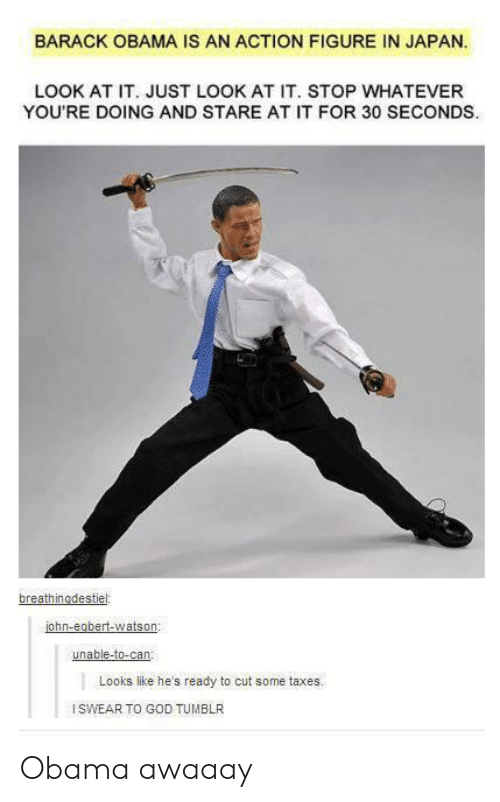 Hes Ready: BARACK OBAMA IS AN ACTION FIGURE IN JAPAN  LOOK AT IT. JUST LOOK AT IT. STOP WHATEVER  YOU'RE DOING AND STARE AT IT FOR 30 SECONDS  ohn-eobert-watson  unable-to-can  Looks like he's ready to cut some taxes.  ISWEAR TO GOD TUMBLR Obama awaaay