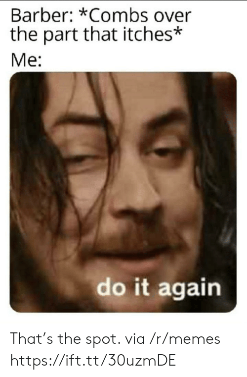 Barber, Do It Again, and Memes: Barber: *Combs over  the part that itches*  Me:  do it again That's the spot. via /r/memes https://ift.tt/30uzmDE