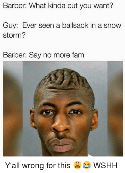snow storm: Barber: What kinda cut you want?  Guy: Ever seen a ballsack in a snow  storm?  Barber: Say no more fanm Y'all wrong for this 😩😂 WSHH