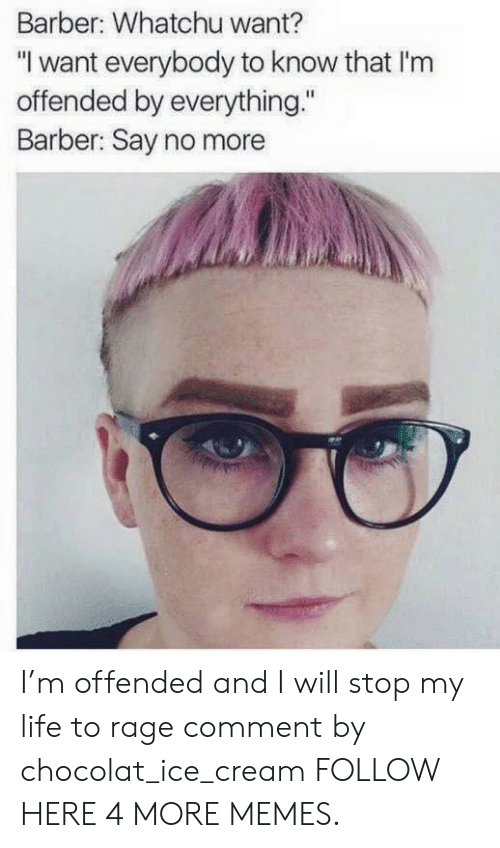"""Commenter: Barber: Whatchu want?  """"I want everybody to know that I'nm  offended by everything.""""  Barber: Say no more I'm offended and I will stop my life to rage comment by chocolat_ice_cream FOLLOW HERE 4 MORE MEMES."""