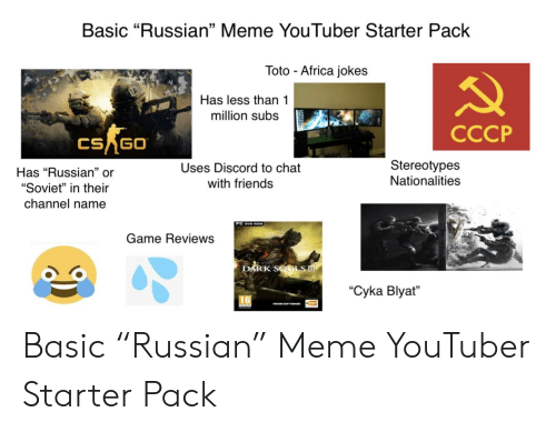 "Russian Meme: Basic ""Russian"" Meme YouTuber Starter Pack  Toto Africa jokes  Has less than 1  million subs  CCCP  CSAGO  Has ""Russian"" or  ""Soviet"" in their  channel name  Uses Discord to chat  with friends  Stereotypes  Nationalities  13  PC DvD ROM  Game Reviews  RK S  ""Cyka Blyat"" Basic ""Russian"" Meme YouTuber Starter Pack"