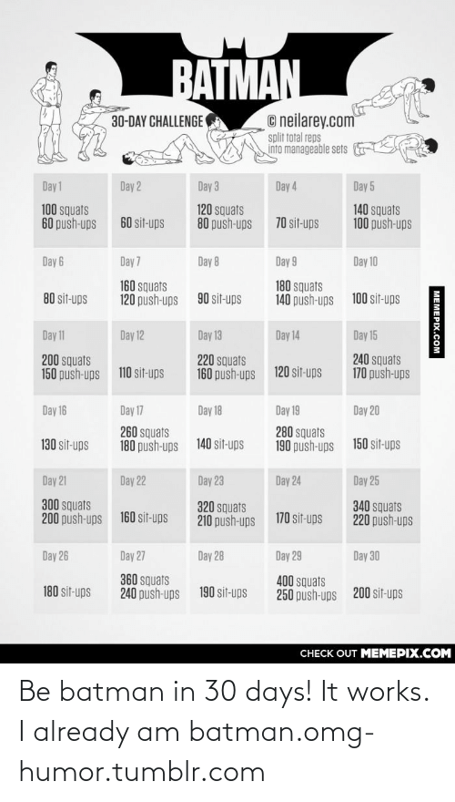 Day 17: BATMAN  © neilarey.com  split total reps  into manageable sets  30-DAY CHALLENGE  Day 1  Day 3  Day 4  Day 5  Day 2  100 squats  60 push-ups  120 squats  80 push-ups  140 squats  100 push-ups  60 sit-ups  70 sit-ups  Day 6  Day 7  Day 8  Day 9  Day 10  160 squats  120 push-ups  180 squats  140 push-ups  80 sit-ups  90 sit-ups  100 sit-ups  Day 11  Day 12  Day 13  Day 14  Day 15  220 squats  160 push-ups  240 squats  170 push-ups  200 squats  150 push-ups  120 sit-ups  110 sit-ups  Day 16  Day 17  Day 18  Day 19  Day 20  260 squats  180 push-ups  280 squats  190 push-ups  150 sit-ups  130 sit-ups  140 sit-ups  Day 21  Day 25  Day 22  Day 23  Day 24  300 squats  200 push-ups  340 squats  220 push-ups  320 squats  210 push-ups  160 sit-ups  170 sit-ups  Day 26  Day 27  Day 28  Day 29  Day 30  360 squats  240 push-ups  400 squats  250 push-ups  180 sit-ups  190 sit-ups  200 sit-ups  CНECK OUT MЕМЕPIХ.COМ  MEMEPIX.COM Be batman in 30 days! It works. I already am batman.omg-humor.tumblr.com