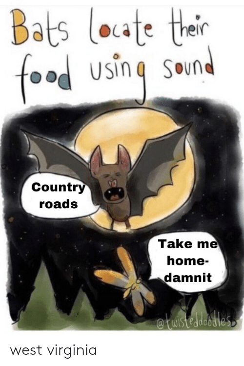 Virginia: Bats loate thair  food  SOund  Country  roads  Take me  home-  damnit  WIstedeodles west virginia