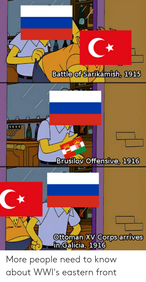 History, Ottoman, and Galicia: Battle of Sartkamish, 1915  TTO  poo  Brusilov Offensive, 1916  Ottoman XV Corps arrives  in Galicia, 1916 More people need to know about WWI's eastern front