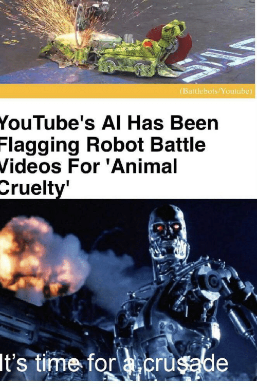 battle: (Battlebots/Youtube)  YouTube's AI Has Been  Flagging Robot Battle  Videos For 'Animal  Cruelty'  It's time for acrusade