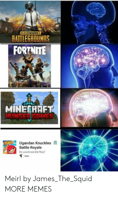 Dank, Memes, and Minecraft: BATTLEGROUNDS  FORTNITE  MINECRAFT  HUNGER GRMES  Ugandan Knuckles  Battle Royale  Doyou know  De Way?  Teen Meirl by James_The_Squid MORE MEMES
