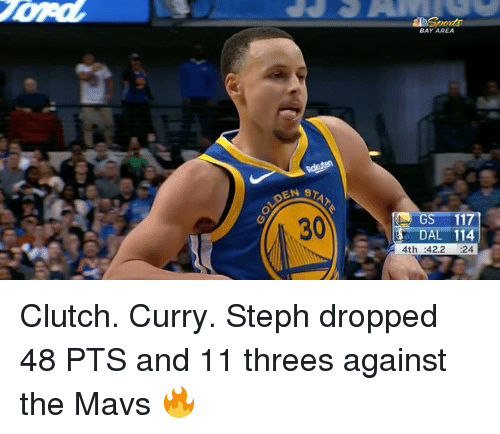 Threes: BAY AREA  STAT  30  S-117]  DAL 114  4th :42.2 24 Clutch. Curry.  Steph dropped 48 PTS and 11 threes against the Mavs 🔥
