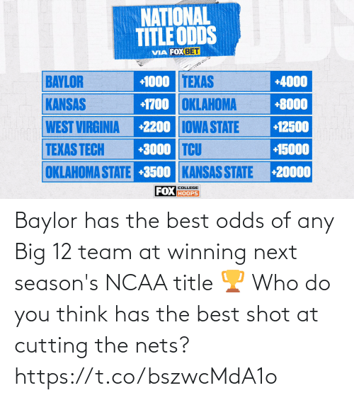 team: Baylor has the best odds of any Big 12 team at winning next season's NCAA title 🏆  Who do you think has the best shot at cutting the nets? https://t.co/bszwcMdA1o