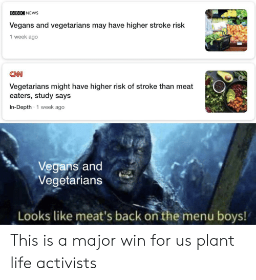 cnn.com, Life, and News: BBC NEWS  Vegans and vegetarians may have higher stroke risk  1 week ago  CNN  Vegetarians might have higher risk of stroke than meat  eaters, study says  In-Depth 1 week ago  .  Vegans and  Vegetarians  Looks like meat's back on the menu boys! This is a major win for us plant life activists